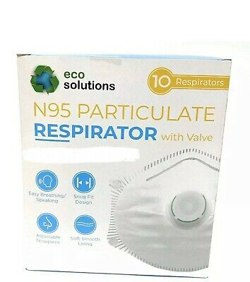 Eco Solutions N95 Particulate Respirator Face Mask W/Exhalation Valve, 10 masks