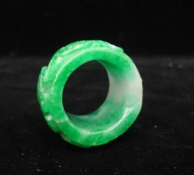 Fine Old Chinese Natural Green and White Jadeite Carving Emerald Finger Ring