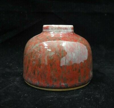 Old Chinese Green and Red Glazes Porcelain Brush Washer Ink Pot Marks
