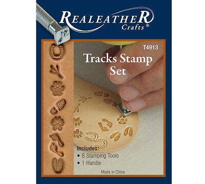 Realeather Crafts Leathercraft Tracks Stamp Set T4913 8 Leather Stamps