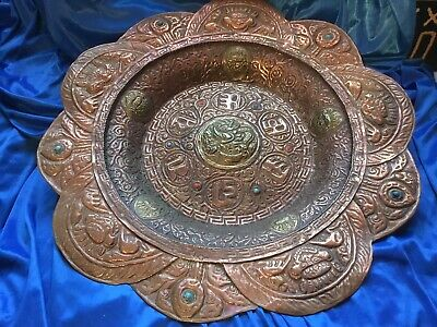 Large Old Demon Devil Mythical Tibetan Copper Wall Plaque Tray Antique Asian