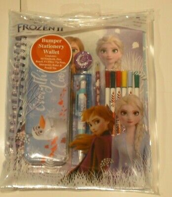 Frozen 2 Bumper Stationery Wallet; A4 book,Set 6 felts,Pen,Pencil,Rule, Tin,Sha