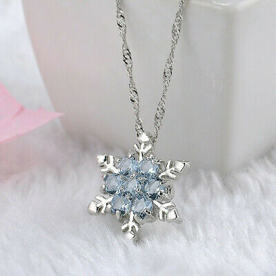 Women Fashion Jewelry snowflake With Aquamarine Crystal Pendant Necklace