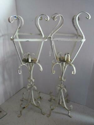 2 Shabby Chic French Country Cottage Wrought Iron Scrolled Pillar Candle Holders