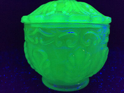 Blue Vaseline Uranium glass powder / jewelry box covered candy dish scroll leaf