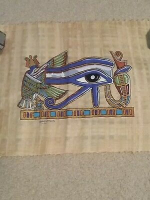 Egyptian Eye of Horus poster- Art on Genuine Papyrus- Hand painted Art