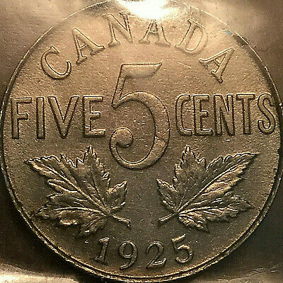 1925 CANADA 5 CENTS COIN KING GEORGE V - ICCS EF-45 - Very rare keydate