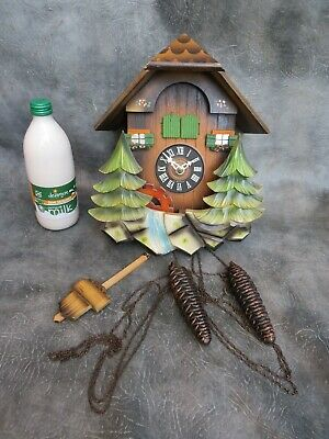 A Nice Quality Working Hubert Herr Musical Chalet Cuckoo Clock * Parts Missing *
