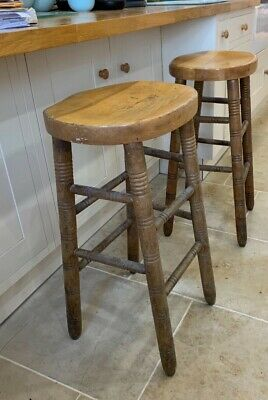 Pair of Vintage Turned Wooden Bar / Pub Stools - Very Heavy