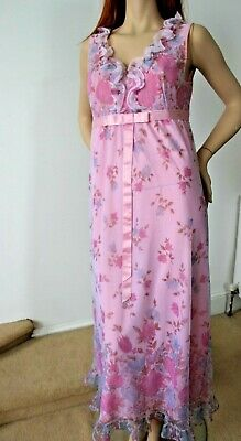 Vintage St Michael Chintzy Floral 1960's Lined Nylon Nightdress Marks & Spencer