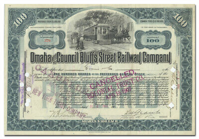 Omaha and Council Bluffs Street Railway Company Stock Certificate