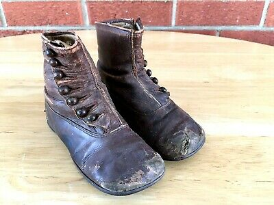 Antique Vintage Brown Leather Button Up High Top Toddler Small Child Shoes