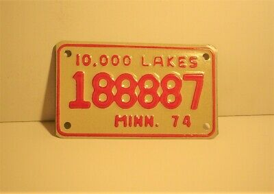 Old 1974 Minnesota Motorcycle License Plate 188887 Embossed 10,000 Lakes  8888