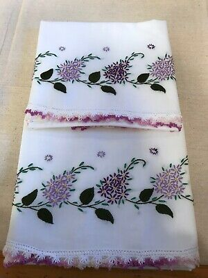 Vintage Embroidered Standard Pillowcases Hand Done Purple Flowers