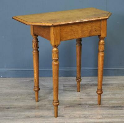 Attractive Small Antique Light Oak Occasional Side Hall Table On Turned Legs