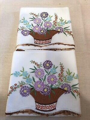 Vintage Hand Embroidered Standard Pillowcases Purple Blue Flowers In Basket