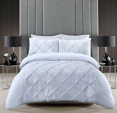 Pintuck Pinch Pleat Double Bed Duvet Cover Sets with Pillow Cases (Double,White)