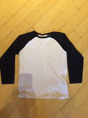 Boys Next Long Sleeved Raglan Style Too Age 6yrs. White with Navy Sleeves