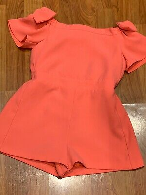 Girls River Island Coral Lined Playsuit Age 8Yrs Great Condition