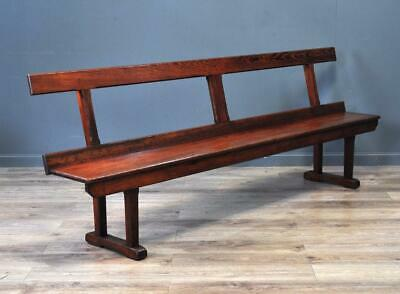 "Attractive Antique Victorian Large 98"" Wide Pitch Pine Rustic Hall Bench Pew"