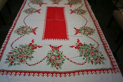 """Vintage Linen Tablecloth Christmas/Holiday Themed 49"""" x 64"""" Free Shipping!"""