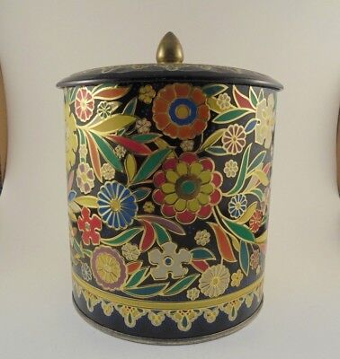 Vintage Round Enameled Floral Tin Container Canister Made in England