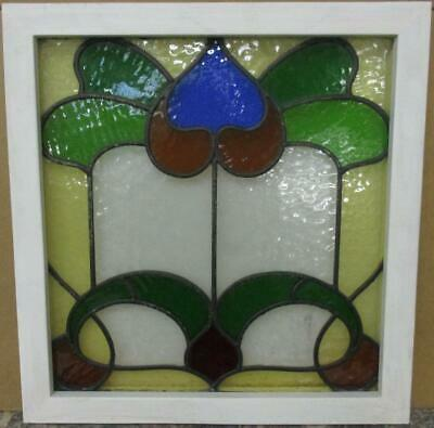 "OLD ENGLISH LEADED STAINED GLASS WINDOW Colorful Abstract Design 19.75"" x 20.75"""