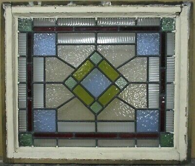 "VICTORIAN ENGLISH LEADED STAINED GLASS WINDOW Stunning Geometric 23.5"" x 20"""