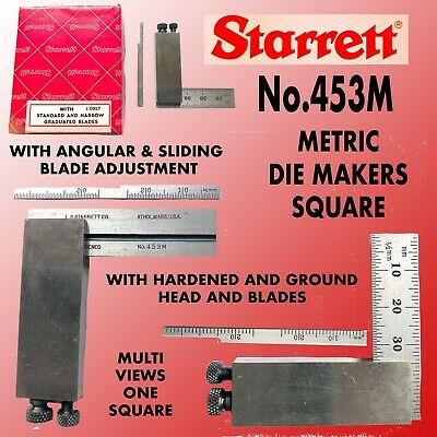 Starrett #453M Metric Diemakers' Square With 21/2 Inch Blade & Ground Head .