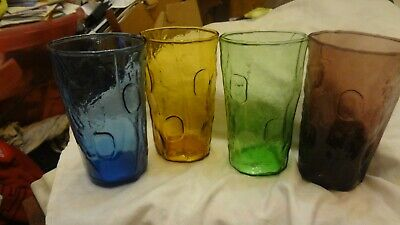 4 Decatur Texas Tex Glass THUMBPRINT TUMBLER DRINKING GLASSES MCM Mid Century