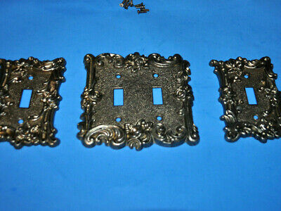 3 Vintage 1967 SWITCHPLATES ~Decorative Brass ~American Tack & Hardware Ornate