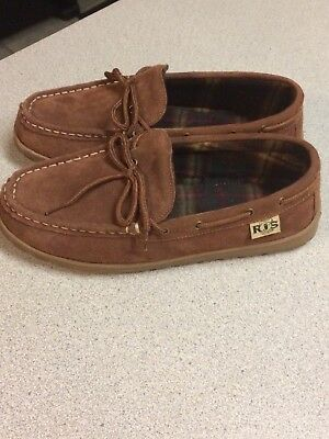 RJ'S Fuzzies Mens Cowhide Suede Leather Unlined Moccasin Slippers 9 M *NEW*