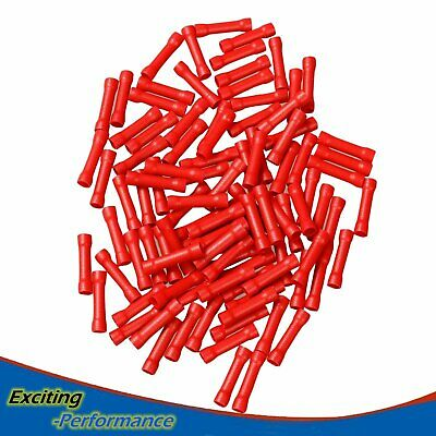 100Pcs Butt Wire Connectors Crimp Terminals Electrical 22-18 AWG Red NEW