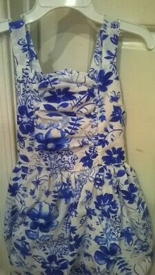 YOUNGLAND GIRLS SUNDRESS SIZE 6x WHITE WITH BLUE FLOWERS