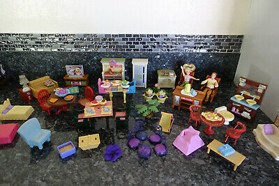 Fisher price loving family furniture and figures lot bath kitchen living room