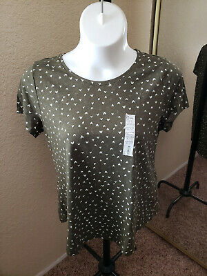 SONOMA Goods For Life NWT Size XL Olive Green with Hearts Top