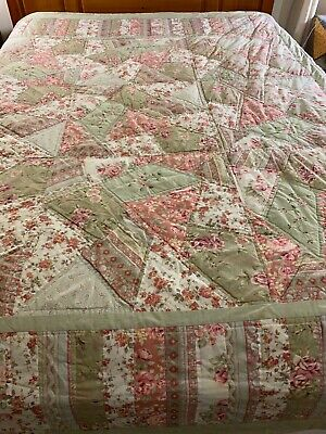 "NICE! Vintage HAND QUILTED Crazy Quilt with Embroidered Accents  99"" x 93""  #707"