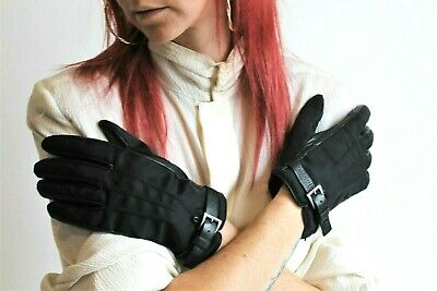 PRADA Gloves Black Driving Leather & Nylon Cashere Lined Buckle Wrists Sz 8 Good