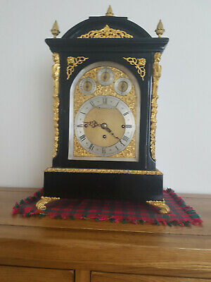 Large Chain Fusee Bracket clock musical chime strike 8 bells ebonised and gilt