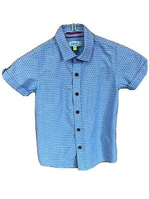 Boys Ted Baker Print Short Sleeved 100% Cotton Shirt Age 4-5 Years. Pale Blue.