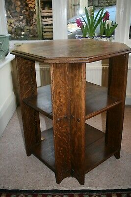 Vintage Arts & Crafts Deco Solid Oak Hexagonal Side Coffee Table Excellent