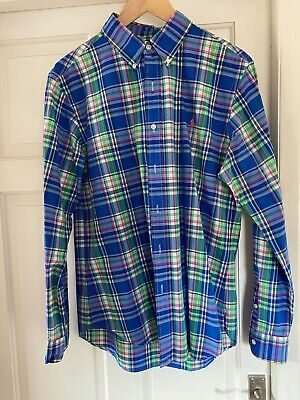 Polo By Ralph Lauren Mens Checked Shirt Large Slim Fit Long Sleeve