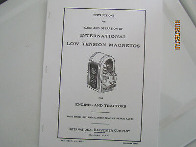 International Harvester Low Tension Magneto operation/care/ parts Manual
