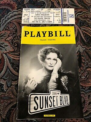Sunset Blvd February 2017 Broadway Playbill with Ticket – Glenn Close