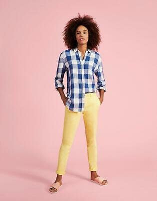Joules Womens Jeanne Print Printed Linen Shirt in Blue Gingham