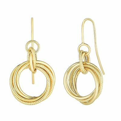 14K Yellow Gold Textured Earrings with Euro Wire Clasp