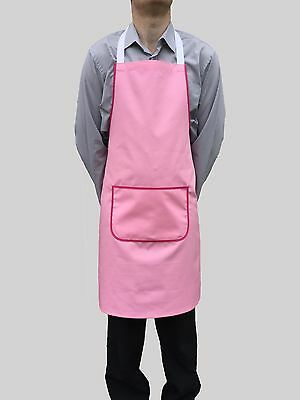 Brand New Pink Bib Apron Work Chef Cook Restaurant Cafe Shop Catering Butchers