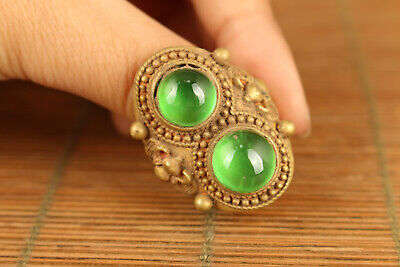 Natural Chinese Green Jadeite Jade Bead qian long year collectable ring gift