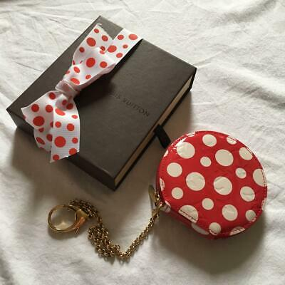 Auth Louis Vuitton Yayoi Kusama Vernis Dots Coin purse w/Chain Red Used from JPN