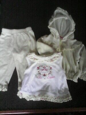 Girls Outfit Size 0-6 Months - Yellow,  3 piece set - Pants, Hoodie, Top